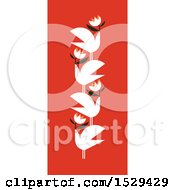 Poster, Art Print Of Pattern Of Doves With Flowers On Red