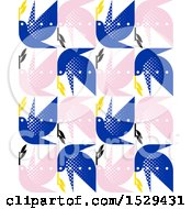 Clipart Of A Seamless Pattern Background Of Blue And Pink Doves Royalty Free Vector Illustration