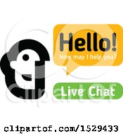 Clipart Of A Live Chat Customer Representative Talking Royalty Free Vector Illustration