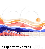 Clipart Of A Sunset Over A Mountain And City Lansdcape Royalty Free Vector Illustration