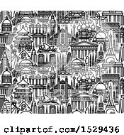 Clipart Of A Seamless Pattern Background Of Popular Tourist Attractions Royalty Free Vector Illustration