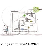 Clipart Of A Stick Business Man With A House Labyrinth Maze Royalty Free Vector Illustration
