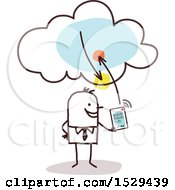 Clipart Of A Stick Business Man Connecting His Tablet To The Cloud Royalty Free Vector Illustration