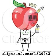 Clipart Of A Stick Business Man With A Giant Poisoned Apple On His Head Royalty Free Vector Illustration