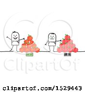 Clipart Of Stick Men With Gmo And Organic Apples Royalty Free Vector Illustration by NL shop