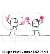 Clipart Of A Stick Business Man And Woman Having A Battle Of The Sexes Royalty Free Vector Illustration by NL shop