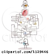 Clipart Of A Stick Business Man With A First Place Labyrinth Maze Royalty Free Vector Illustration