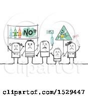Group Of Stick People Protesting Vaccines
