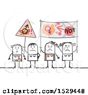 Clipart Of A Group Of Feminist Stick Women Protesting Royalty Free Vector Illustration