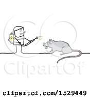 Stick Man Exterminator Battling A Rat