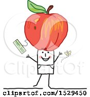 Clipart Of A Stick Man With An Organic Apple On His Head Royalty Free Vector Illustration