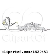 Clipart Of A Stick Man Exterminator Battling Rats Royalty Free Vector Illustration
