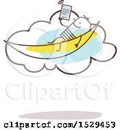 Relaxed Stick Man Reading An E Book In A Hammock On The Cloud