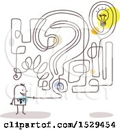 Clipart Of A Stick Business Man With A Question And Idea Labyrinth Maze Royalty Free Vector Illustration