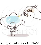 Clipart Of A Hand Sketching A Cloud Over A Stick Business Man Royalty Free Vector Illustration