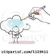 Poster, Art Print Of Hand Sketching A Cloud Over A Stick Business Man