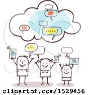 Clipart Of A Stick Family With Their Electronics Connected To The Cloud Royalty Free Vector Illustration