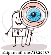 Clipart Of A Stick Business Man Looking Through A Magnifying Glass With A Big Eye Royalty Free Vector Illustration by NL shop