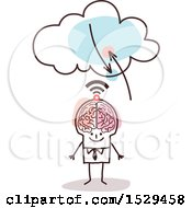 Poster, Art Print Of Stick Business Man With A Brain And Signals To The Cloud