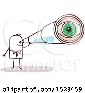 Clipart Of A Stick Business Man Looking Through A Telescope Royalty Free Vector Illustration