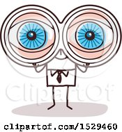 Clipart Of A Stick Business Man Viewing Through Binoculars Royalty Free Vector Illustration