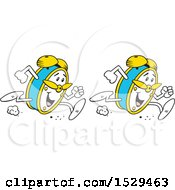 Clipart Of Cartoon Happy Alarm Clocks Running Double Time Royalty Free Vector Illustration