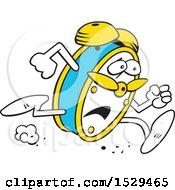 Cartoon Stressed Alarm Clock Running