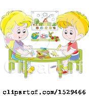 Clipart Of A Cartoon Caucasian Boy And Girl Coloring Pictures At A Table Royalty Free Vector Illustration