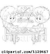 Black And White Boy And Girl Coloring Pictures At A Table