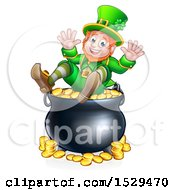 Clipart Of A St Patricks Day Leprechaun Sitting On Top Of A Pot Of Gold Royalty Free Vector Illustration by AtStockIllustration