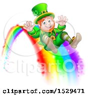 Clipart Of A St Patricks Day Leprechaun Riding A Rainbow Royalty Free Vector Illustration by AtStockIllustration
