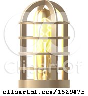 Clipart Of A 3d Vintage Steampunk Electric Light Bulb Lamp Royalty Free Vector Illustration