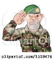 Clipart Of A Tough Male Soldier Saluting And Wearing A Green Beret Royalty Free Vector Illustration by AtStockIllustration