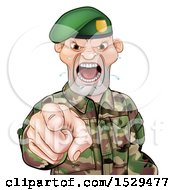 Clipart Of A Tough Male Soldier Wearing A Green Beret Shouting And Pointing Outwards Royalty Free Vector Illustration by AtStockIllustration