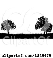 Black And White Silhouetted Grassy Field With Trees