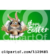 Happy Easter Greeting By A Brown Bunny Rabbit Breaking Through A Hole In A Wall Over Green