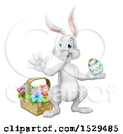 White Easter Bunny Rabbit Holding An Egg By A Basket