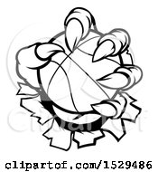 Clipart Of Black And White Monster Claws Ripping Through Metal With A Basketball Royalty Free Vector Illustration