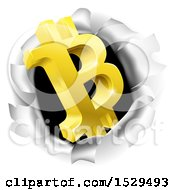Clipart Of A 3d Gold Bitcoin Currency Symbol Breaking Through A Hole In A Wall Royalty Free Vector Illustration by AtStockIllustration