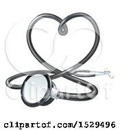 Clipart Of A 3d Medical Stethoscope Forming A Love Heart Royalty Free Vector Illustration by AtStockIllustration