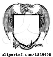 Clipart Of A Black And White Dragon Shield Royalty Free Vector Illustration