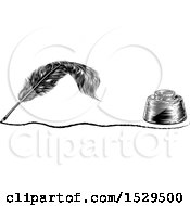 Clipart Of A Writing Feather Quill Pen With A Line And Ink Well Royalty Free Vector Illustration