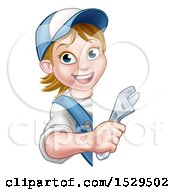 White Female Plumber Holding An Adjustable Wrench Around A Sign