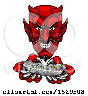 Clipart Of A Grinning Evil Red Devil Playing With A Video Game Controller Royalty Free Vector Illustration by AtStockIllustration