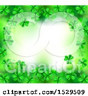 Clipart Of A St Patricks Day Background With Green Shamrocks And Text Space Royalty Free Vector Illustration by AtStockIllustration