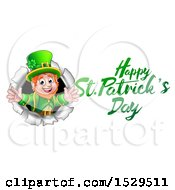 Clipart Of A Happy St Patricks Day Greeting By A Leprechaun Breaking Through A Wall Royalty Free Vector Illustration