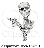 Clipart Of A Cartoon Skeleton Pointing Around A Sign Royalty Free Vector Illustration by AtStockIllustration