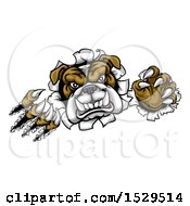 Clipart Of A Bulldog Monster Shredding Through A Wall Royalty Free Vector Illustration