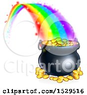 Clipart Of A St Patricks Day Rainbow Ending At A Leprechauns Pot Of Gold Royalty Free Vector Illustration by AtStockIllustration