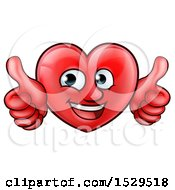 Clipart Of A Cartoon Happy Red Love Heart Character Giving Two Thumbs Up Royalty Free Vector Illustration